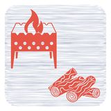 Brazier and firewood icon. Vector illustration Royalty Free Stock Photography