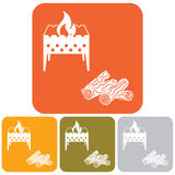 Brazier and firewood icon Stock Image