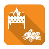 Brazier and firewood icon. Vector illustration Stock Photo