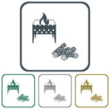 Brazier and firewood icon Royalty Free Stock Images