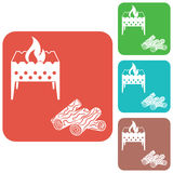 Brazier and firewood icon. Vector illustration Stock Photography
