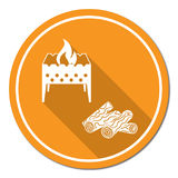 Brazier and firewood icon. Vector illustration Stock Photos