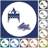 Brazier and firewood icon. Vector illustration Royalty Free Stock Photos
