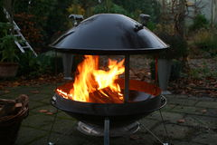 Brazier. Flames of burning wood in brazier close up Royalty Free Stock Photos