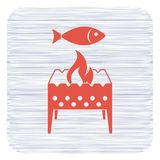 Brazier grill with fish icon. Vector illustration Royalty Free Stock Photos