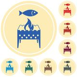 Brazier grill with fish icon. Vector illustration Stock Photo