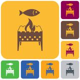 Brazier grill with fish icon. Vector illustration Royalty Free Stock Images