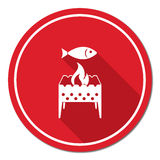 Brazier grill with fish icon. Vector illustration Stock Photography