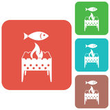 Brazier grill with fish icon. Vector illustration Stock Images