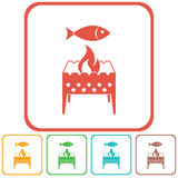 Brazier grill with fish icon. Vector illustration Royalty Free Stock Photo