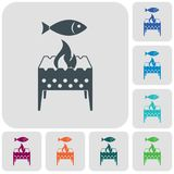 Brazier grill with fish icon. Vector illustration Stock Photos