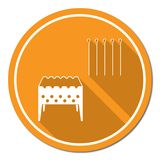 Brazier grill with skewers icon Royalty Free Stock Image