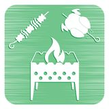 Brazier, kebab and chicken. Vector illustration Stock Image