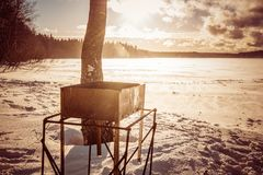 Brazier on the lake stock photo