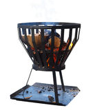Brazier with Wood Fire. Isolated with clipping path Royalty Free Stock Images