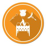 Brazier, zephyr, chicen and sausage icon Royalty Free Stock Photography