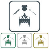 Brazier zephyr, kebab and chicken icon Royalty Free Stock Photos