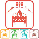 Brazier zephyr, kebab and fish icon Royalty Free Stock Photo