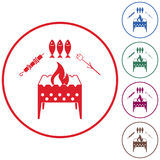 Brazier zephyr, kebab and fish icon Stock Photo
