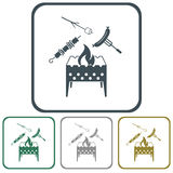 Brazier, zephyr, kebab and sausage icon Royalty Free Stock Images