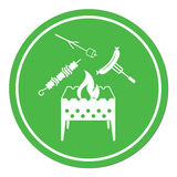 Brazier, zephyr, kebab and sausage icon Royalty Free Stock Photo