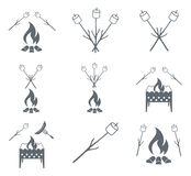 Brazier, zephyr and sausage icon. Vector illustration Royalty Free Stock Images