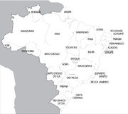 Brazil. Map designed in illustration with the 26 states royalty free illustration