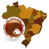Brazil. Map illustration of coffee with no background Stock Photography
