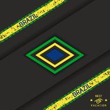 Brazil abstract background. Stylized brazilian background with grunge stripes and rhombs. Vector eps 10 royalty free illustration