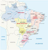 Brazil administrative map Royalty Free Stock Image
