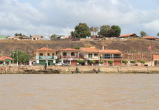 Brazil/Almeirim: Living at the Amazon River - Waterfront Houses Royalty Free Stock Image