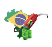 Brazil alternative fuel with a gas pump nozzle Stock Photo