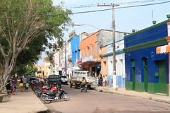 Brazil, Óbidos: City at Amazon River - Busy Shopping Street. Life and Bustle in a busy shopping street in Óbidos, a municipality in Pará, Brazil royalty free stock photography