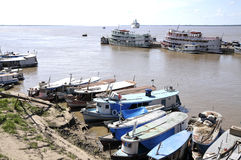 Brazil, the Amazon, town, parintins,. Brazil, the Amazon.Parintins. Boats m of harbour of Parintins Royalty Free Stock Photo