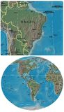 Brazil and The Americas maps Royalty Free Stock Photography