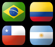 Brazil Argentina Chile Flags Stock Photography