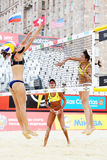 Brazil athletes play volleyball in Country Quota. MOSCOW - JUNE 6: Brazil athletes play volleyball in Country Quota at tournament Grand Slam of beach volleyball Stock Images