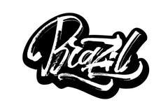 brazil autoadesivo Iscrizione moderna della mano di calligrafia per la stampa di serigrafia Immagine Stock Libera da Diritti