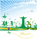 Brazil background. With flag and symbol Royalty Free Stock Photo