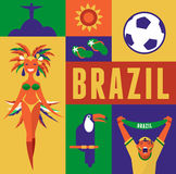 Brazil background with icons and illustration Royalty Free Stock Photo