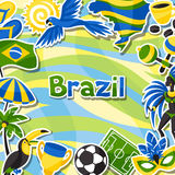 Brazil background with sticker objects and. Cultural symbols Royalty Free Stock Photo
