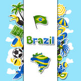 Brazil background with sticker objects and Stock Images