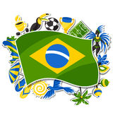 Brazil background with sticker objects and. Cultural symbols Royalty Free Stock Photography