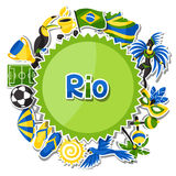 Brazil background with sticker objects and. Cultural symbols Stock Photo