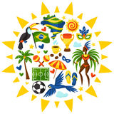 Brazil background with stylized objects and Stock Photos