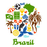 Brazil background with stylized objects and Royalty Free Stock Images