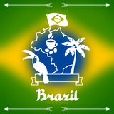Brazil background with stylized objects and Royalty Free Stock Photo