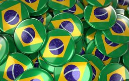 Brazil Badges Background - Pile of Brazilian Flag Buttons. 3D Rendering Stock Photography