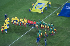 Brazil & Bafana Bafana - Group Photo Royalty Free Stock Photography