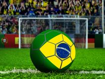 Brazil Ball with Goal Post and Crows Stock Image